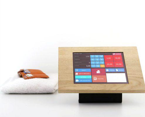 Anwendung TabLines TTH002B Tablet Tischhalter mit TSG Schutzgehäuse