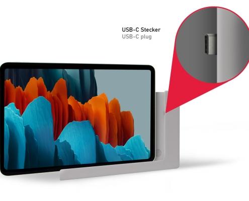TabLines TWP007S Tablet Halterung für die Wand mit Ladefunktion USB-C